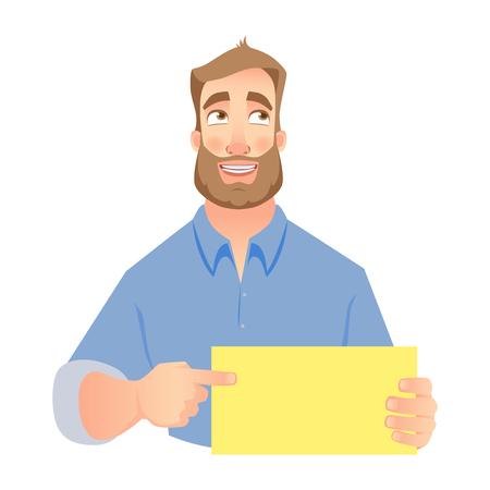 Man holding blank card. Shy businessman pointing to card.  illustration set Фото со стока