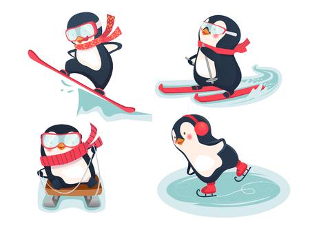 Snowboarder, skier, ice skater and luger illustration. Active penguins in winter. Set