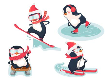 Winter sports icon. Active penguins in winter illustration. Sports icon isolated