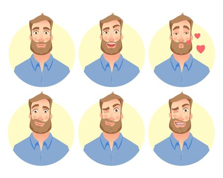 Face of man. illustration set. Character of various expressions bearded man
