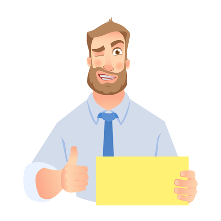 Businessman holding blank sign. Hand holding card Stock Photo