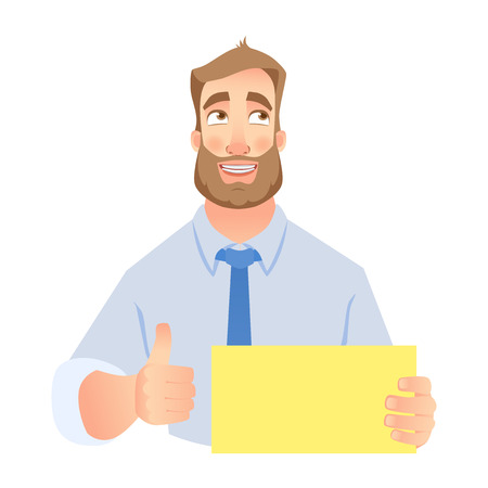 Businessman holding blank sign. Young smiling man holding blank sheet of paper for advertising