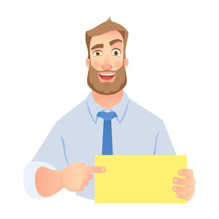 Businessman holding blank sign. Hand holding card. Man pointing at blank poster. .  set Stock Photo