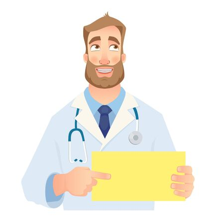Doctor holding blank sign. Doctor pointing at the card. Set illustration