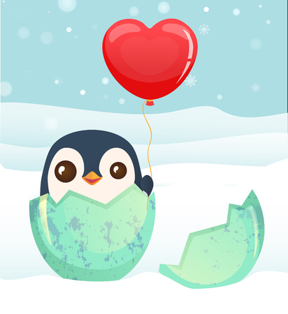 Penguin hatched from the egg. Penguin cartoon vector illustration.