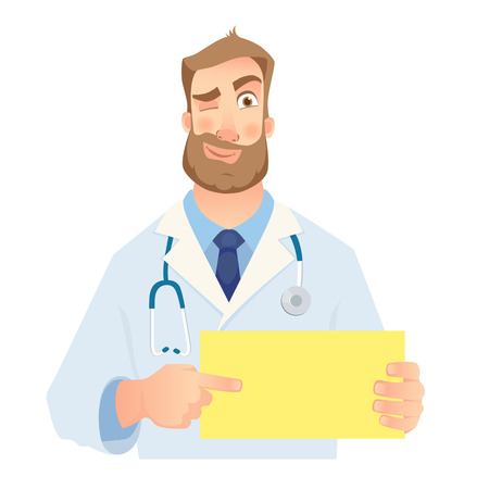 Doctor holding blank sign. Doctor pointing at the card. Set vector illustration.