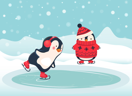 Penguin ice skater cartoon. Penguin isolated vector illustration.