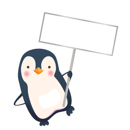 Penguin holding blank sign. Penguin cartoon illustration. Standard-Bild