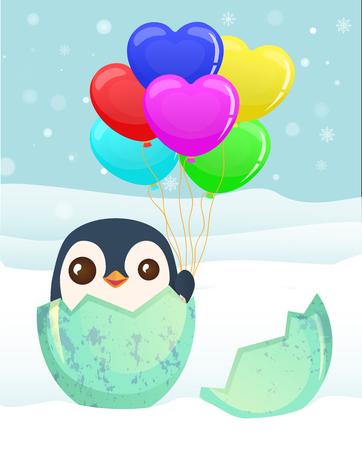 Penguin hatched from the egg. Penguin cartoon vector illustration Illustration