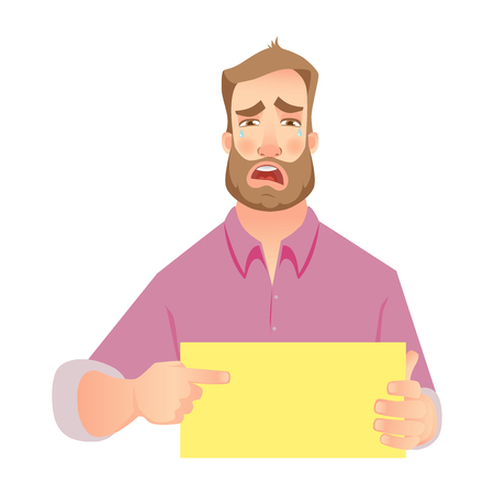 Man holding blank paper. Crying businessman points to banner.  illustration set