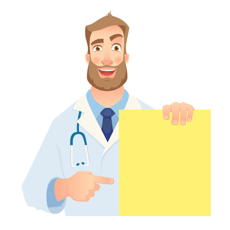 Doctor holding blank banner. Cheerful doctor vector illustration.