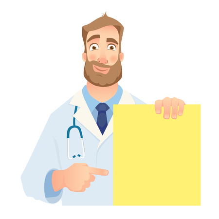 Doctor holding blank banner.