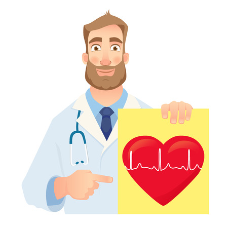 Cardiologist holding banner. Medical test. Medical stethoscope and red heart with cardiogram. Vector illustration 向量圖像