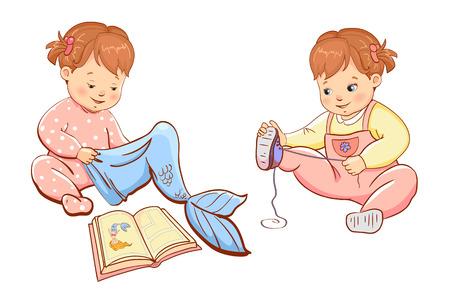 Little cute girls playing. Two cute little children girls. Vector illustration.