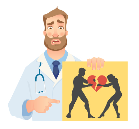Psychotherapist holding banner. Psychotherapist doctor with clipboard. Vector illustration. Illustration