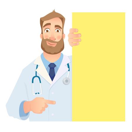 Doctor holding blank signboard. Grinning doctor vector illustration. Vettoriali