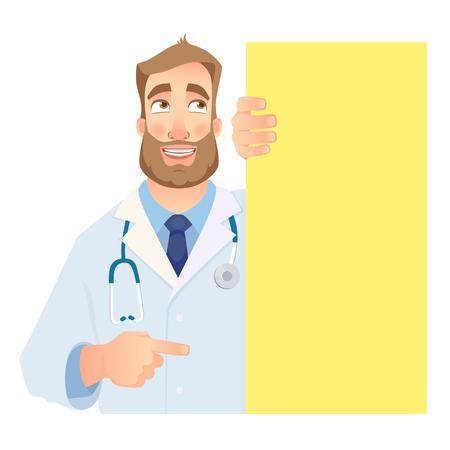 Medico che tiene insegna in bianco. Illustrazione vettoriale di medico divertente