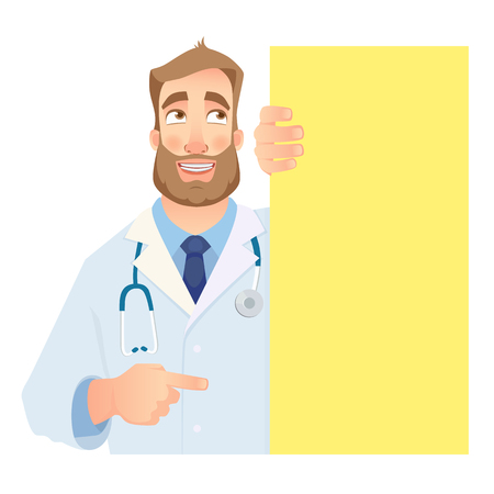 Doctor holding blank signboard. Funny doctor vector illustration.
