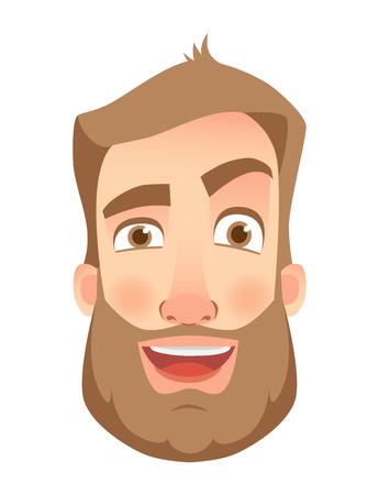 Man face expression. Human emotions. Set of cartoon vector illustrations. Laugh