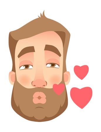 Man face expression. Human emotions. Set of cartoon vector illustrations. Enamored  イラスト・ベクター素材