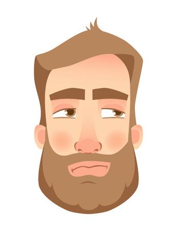 Man face expression. Human emotions vector illustrations: Mistrustful