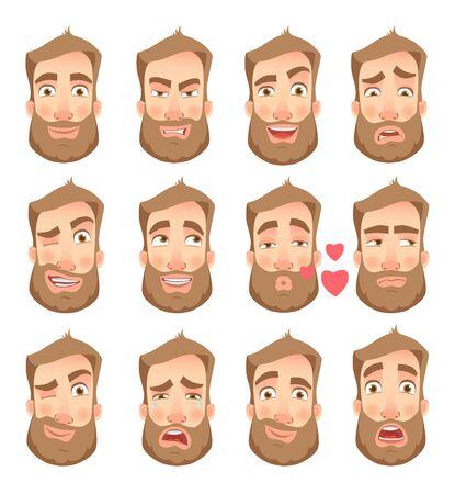 Set of man facial expressions. Vectores