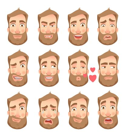 Set of man facial expressions. Illustration