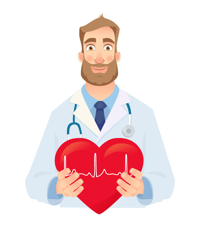 Doctor is holding a heart with cardiogram. Heart pulse vector