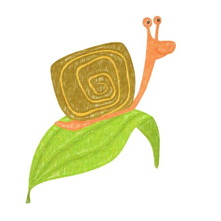 Snail isolated. Hand drawing snail for a child