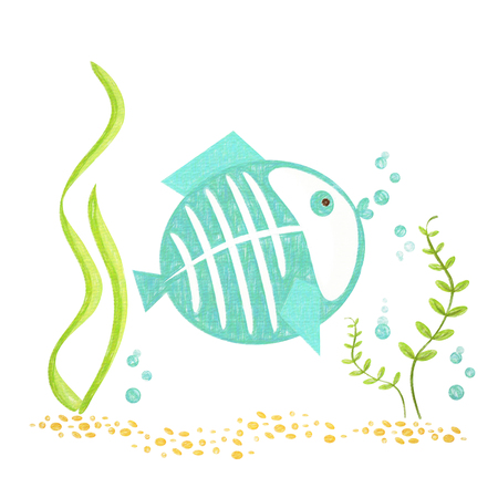Fish isolated. Hand drawing fish for a child Stock Photo