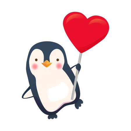 Penguin holding heart sign image illustration Vettoriali