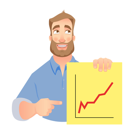 Man holding graph. Vector . Successful Businessman points to graph