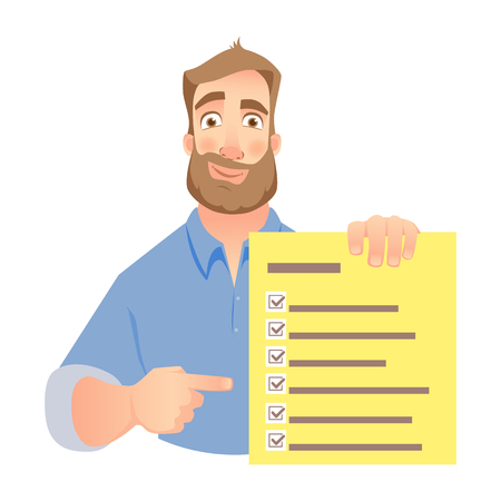 Man holding checklist. Businessman points to check list. Vector