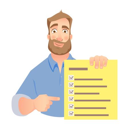 チェックリストを保持している男。ビジネスマンは、リストをチェックすることを指摘します。ベクトル