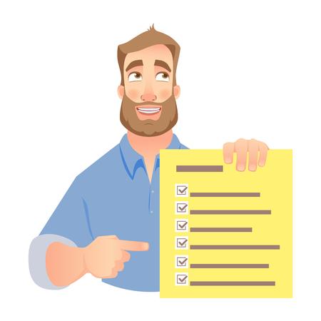 Lista di controllo della holding dell'uomo. L'uomo d'affari indica la lista di controllo. Vettore