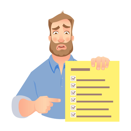 Man holding checklist. Businessman points to check list. Vector illustration.
