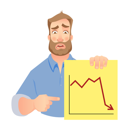 Man holding graph. Vector . Unhappy Businessman points to graph