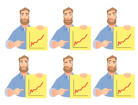Man holding graphs. Successful Businessman points to graph. Vector set.