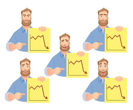Man holding graphs. Businessman points to graph. Vector set. Illustration
