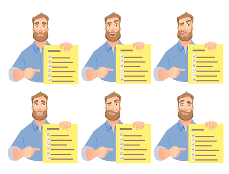 Man holding checklist. Businessman points to check list. Vector set. Reklamní fotografie - 98264530