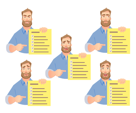 Man holding checklist. Businessman points to check list. Vector set.