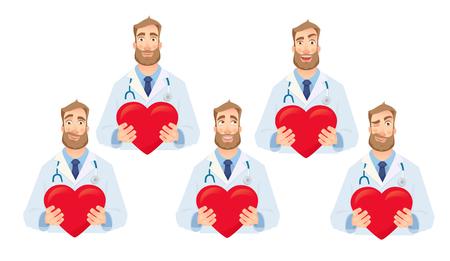 Medico che tiene cuore rosso. Illustrazione di vettore di concetto di cardiologia