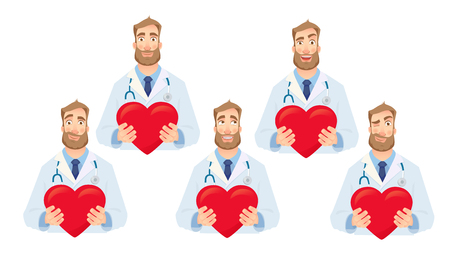 Doctor holding red heart. Cardiology concept vector illustration