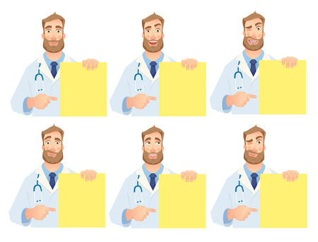 Doctor holding blank banner. Doctor illustration. Set Stock Illustration - 98843928