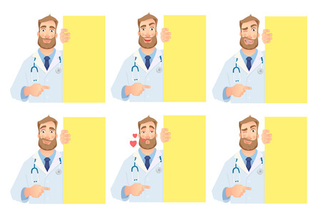 Doctor holding blank signboard - set. Doctor vector illustration. Archivio Fotografico - 98487021