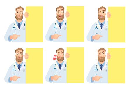 Doctor holding blank signboard - set. Doctor vector illustration.