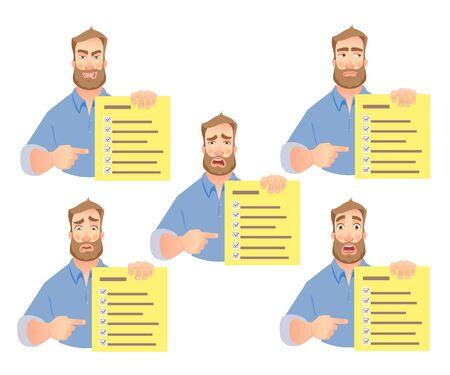 man holding checklist set