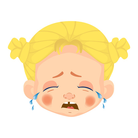 Girl avatar Facial expression. Caucasian girl vector illustration