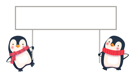 two penguins holding banner 向量圖像