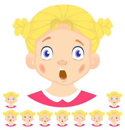Different human girl emotions template vector illustration